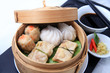 dimsum chinese food in bamboo basket