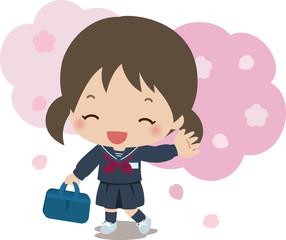 桜と中学生の女の子
