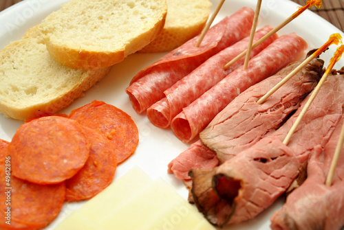 Close-Up of a Meat and Cheese Platter