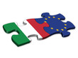 EU & Italian Flags (Italy EU European politics debt)
