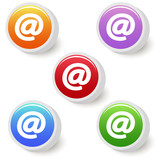 Five colorful email buttons