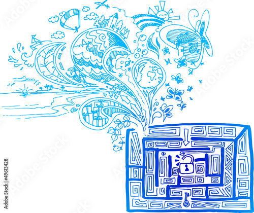 Blue sketchy doodles finding the way in a maze