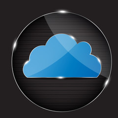 Vector glass button with cloud icon