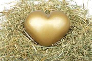 Heart from gold in straw
