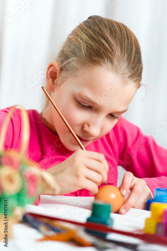 Girl painting an Easter egg