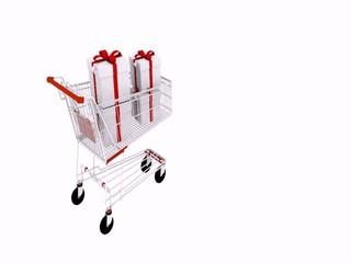 carrello pieno di regali