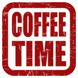 Grunge Stempel rot quad COFFEE TIME