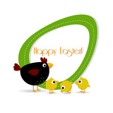 Easter Background - Hen, Chick, Egg - Place your text