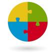 Puzzle - rund - 4 Möglichkeiten
