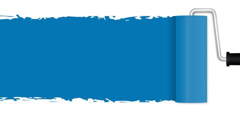 Neuanstrich mit Farbroller - blau