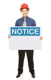 Man With A Notice Sign