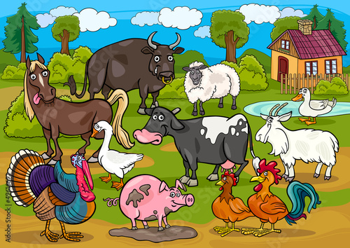 Foto op Canvas Boerderij farm animals country scene cartoon illustration