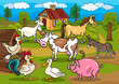 farm animals rural scene cartoon illustration