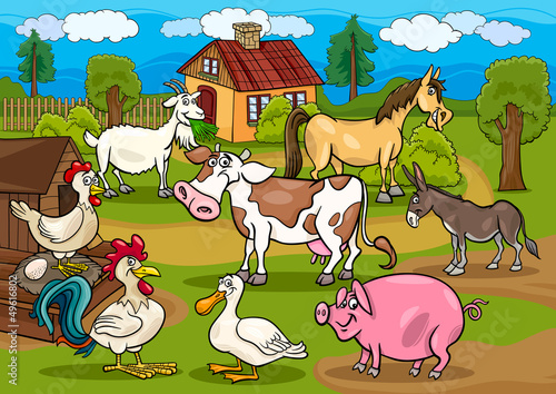 Foto op Canvas Boerderij farm animals rural scene cartoon illustration
