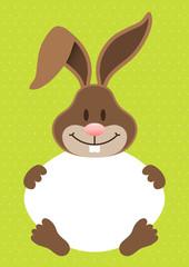 Easter Bunny Holding Egg Frame Dots Green