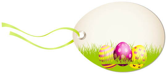 Vertical Hangtag Easter Eggs Green/Pink/Yellow