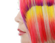 girl with a bright make-up and multi-coloured strand in hair