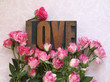 love word in wood type with roses