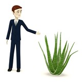 3d render of businessman with aloe