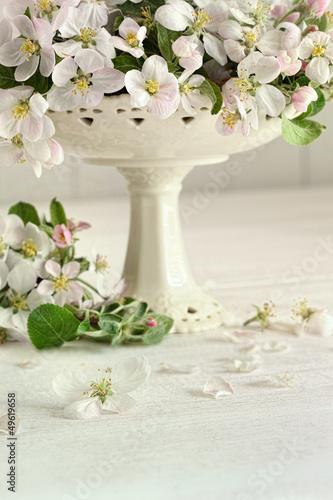 Apple blossom flowers in vase