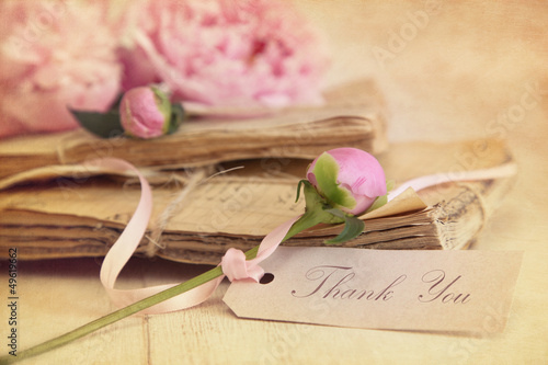 Peony flowers with vintage papers and gift card