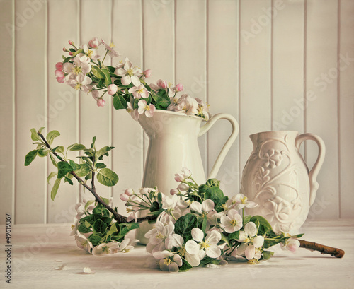 canvas print picture Still life of apple blossom flowers in vase