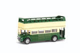 vintage open top city tour bus on white