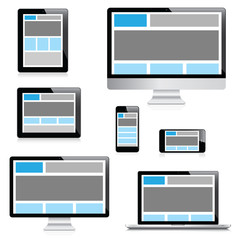 Responsive web design in electronic devices isolation vector