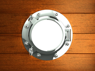 Silver porthole in wooden boat