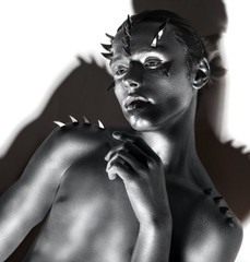 Young Handsome Man. Fantasy. Art. Black & White Portrait