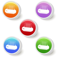 Five colorful print buttons