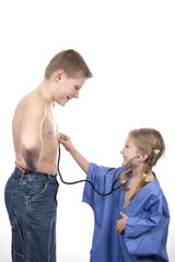 playing doctor with stethoscope