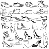 Different Shoes Hand Drawn