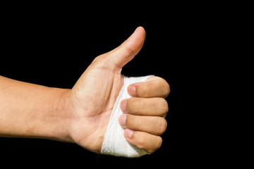 Thump up by bandage hand