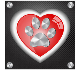 Metal  Paw print love.Vector