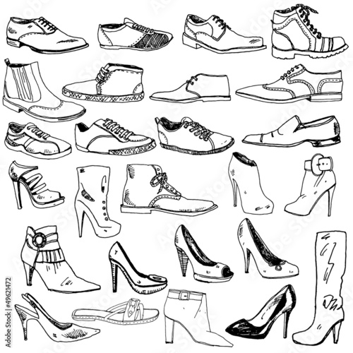 Different Shoes Hand Drawn - 49621472