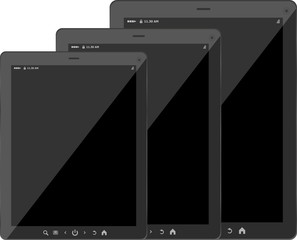 Tablet pc set with black screen isolated on white background