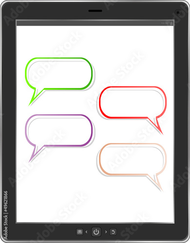 speech bubble on black tablet social network concept