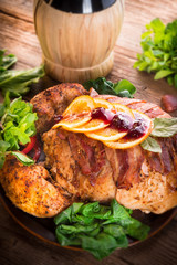 baked turkey with chestnut filling and orange-selective focus