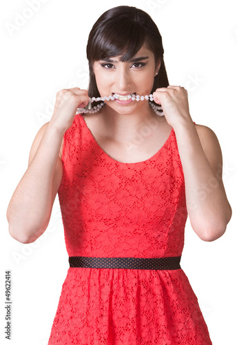 Angry Lady Biting Necklace