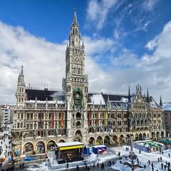 Rathaus von München im Winter