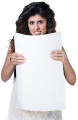 Smiling Woman with Poster