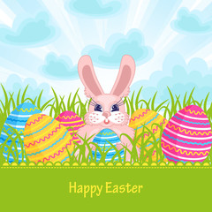 Easter card with Easter bunny and eggs