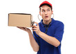 Delivery man examining box with stethoscope