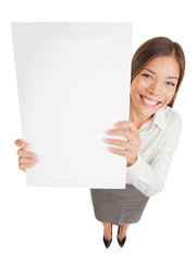 Poster sign woman showing blank placard
