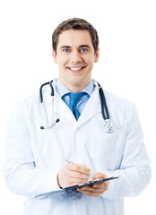 Happy smiling doctor writing on clipboard, isolated on white bac