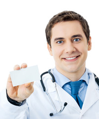 Happy smiling doctor showing business card