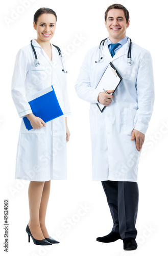 Two happy medical people, on white