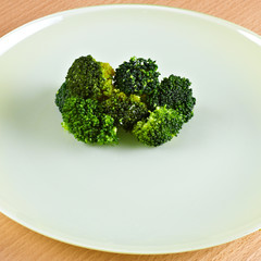 Green broccoli on green dish.