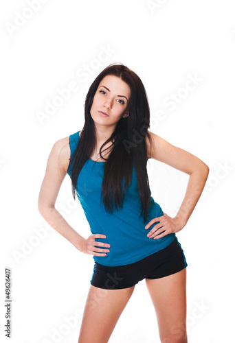 Young woman do sport exercises. isolated on white